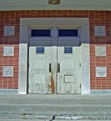 stock photo of nursery rhyme  - building entrance to an elementary public school - JPG