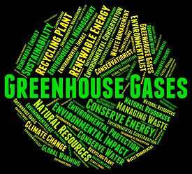 stock photo of gases  - Greenhouse Gases Indicating Global Warming And Pollution - JPG