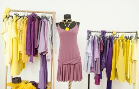 stock photo of dress mannequin  - Wardrobe with purple and yellow clothes arranged on hangers and a summer dress on a mannequin - JPG