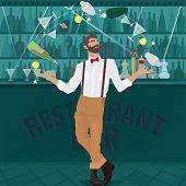 Hipster Bartender Deftly Juggles Bottles poster