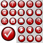 Red Inset Control Button Icons