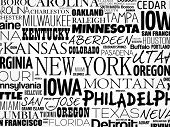 Usa Cities Names Word Cloud Collage poster
