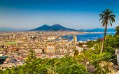 Aerial View Of Napoli With Mount Vesuvius At Sunset, Campania, Italy poster