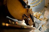 Old violin close up - symphony concert