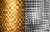 perforated aluminum and bronze textures