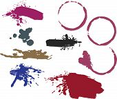Wine ring stains, messy brush strokes and splatters.