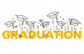 Vector Illustration Of Word Graduation With Graduate Caps On A White Background. Caps Thrown Up. Con poster