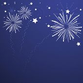 Holiday Fireworks on Deep Blue Background