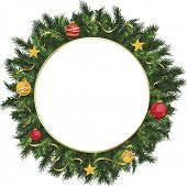 Christmas holiday wreath with yellow, gold, and red ornaments.