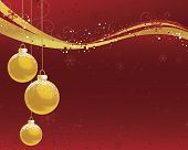 Gold ornaments hanging over deep red snowflake filled background