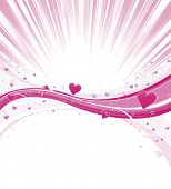 Heart wave burst with pink curves and detailed heart shapes
