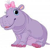 Ilustración de chica de lindo bebé hipopótamo