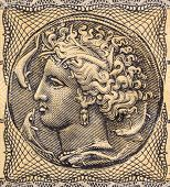 GREECE - CIRCA 1944: Arethusa on 5000000 Drachmai 1944 Banknote from Greece. Nereid nymph who became