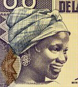 GUINEA - CIRCA 1998: Young Woman on 100 Francs 1998 Banknote from Guinea, CIRCA 1998
