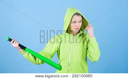 Woman Play Baseball Game Or