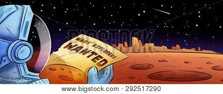 Mars Explorers Wanted Hand Drawn