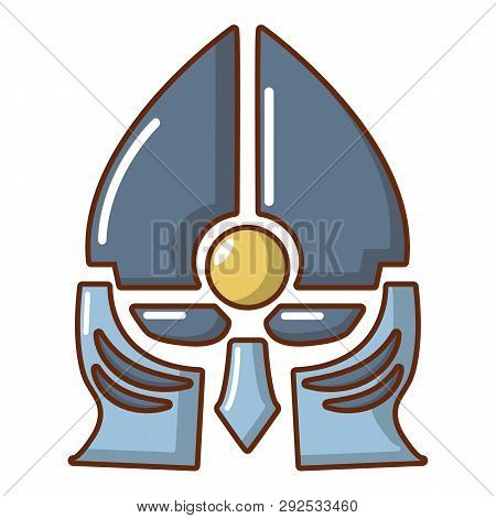 Medieval Knight Helmet Icon Cartoon