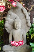 picture of siddhartha  - Buddha statue and flower offerings in Phnom Penh - JPG