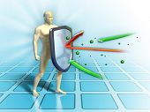 stock photo of immune  - Immune system defends the human body from external attacks - JPG