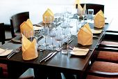 Table Setting In Wedding Decoration, Serving Table In Restaurant With Wine Glasses And Cutlery. Tabl poster