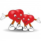 Vector illustration of cute happy heart couple on white background for Valentines Day and other occasions.