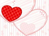 Vector illustration of template frame with heart shape in red color and copy space on seamless background for Valentines Day and other occasions.