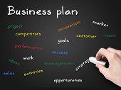 Plan de negocios en pizarra