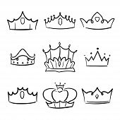 Doodle Crown Princess Collection. Simple Crowning, Elegant Queen Or King Crowns Hand Drawn. poster