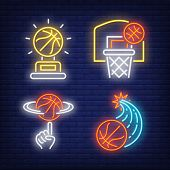 Basketballs Flying Into Hoop And Spinning On Finger Neon Signs Set. Basketball, Team Game And Sport  poster