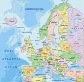 Europe - Highly Detailed Editable Political Map With Separated Layers. poster