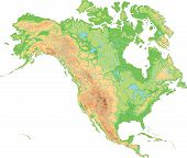 High Detailed North America Physical Map. Vector Illustration. poster
