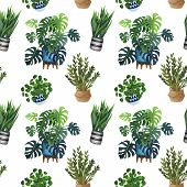 Indoor Plant Watercolor Seamless Pattern. Home Plants, Fig Tree, Zz Plant (zamioculcas),  Snake Plan poster