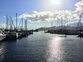 A Look At A Beautiful Marina In Gibsons, British Columbia, Canada.the Docks Are Full Of Sailboats An poster