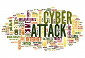 Cyber attack concept in word tag cloud isolated on white background