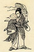 illustration of a Samurai warrior with katana sword and hat