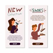 Vector Flat Banner Girl Rejoices New Beautiful Shoes. Shod Green Shoes On The Leg Of A New Collectio poster