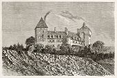 Chateau d'Epinac old view, France. Created by Therond after photo by unknown author, published on Le