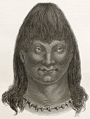 Cambeba indian old engraved portrait (Brazil's amazon valley). Created by Riou, published on Le Tour