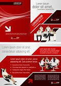 Red and black template for advertising brochure with business people