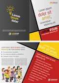 Red, yellow and black template for advertising brochure with cartoon people