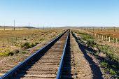 Trans-mongolian Railway, Single-track Railway In The Mongolian Steppe, Mongolia poster