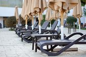 A Number Of Empty Beach Loungers Near The Pool Under Closed Umbrellas. Beach Lounges, Leaving In Per poster