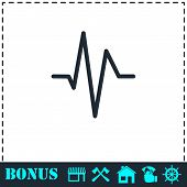 Heart Beat Cardiogram Icon Flat. Simple Vector Symbol And Bonus Icon poster