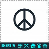 Hippie Peace Icon Flat. Simple Vector Symbol And Bonus Icon poster