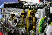 Gasoline Powered Car Engine. Automobile Engine. Car Engine Parts. poster
