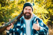 Happy Hunting In Forest. Closed And Open Hunting Season. Hunter With Shotgun Gun On Hunt. Portrait O poster