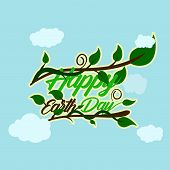 Green Happy Earth Day Typography At The Bottom And Above Have Stem And Tendrils With Leaf Cloud Back poster