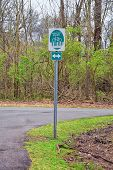 Trail And Warning Signs Along The Shelby Bottoms Greenway And Natural Area Cumberland River Frontage poster