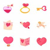 Happy Valentine Day Objects Icons Set. Cartoon Set Of 9 Happy Valentine Day Objects Icons For Web Is poster