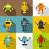 Clever Machines Icon Set. Flat Style Set Of 9 Clever Machines Icons For Web Design poster